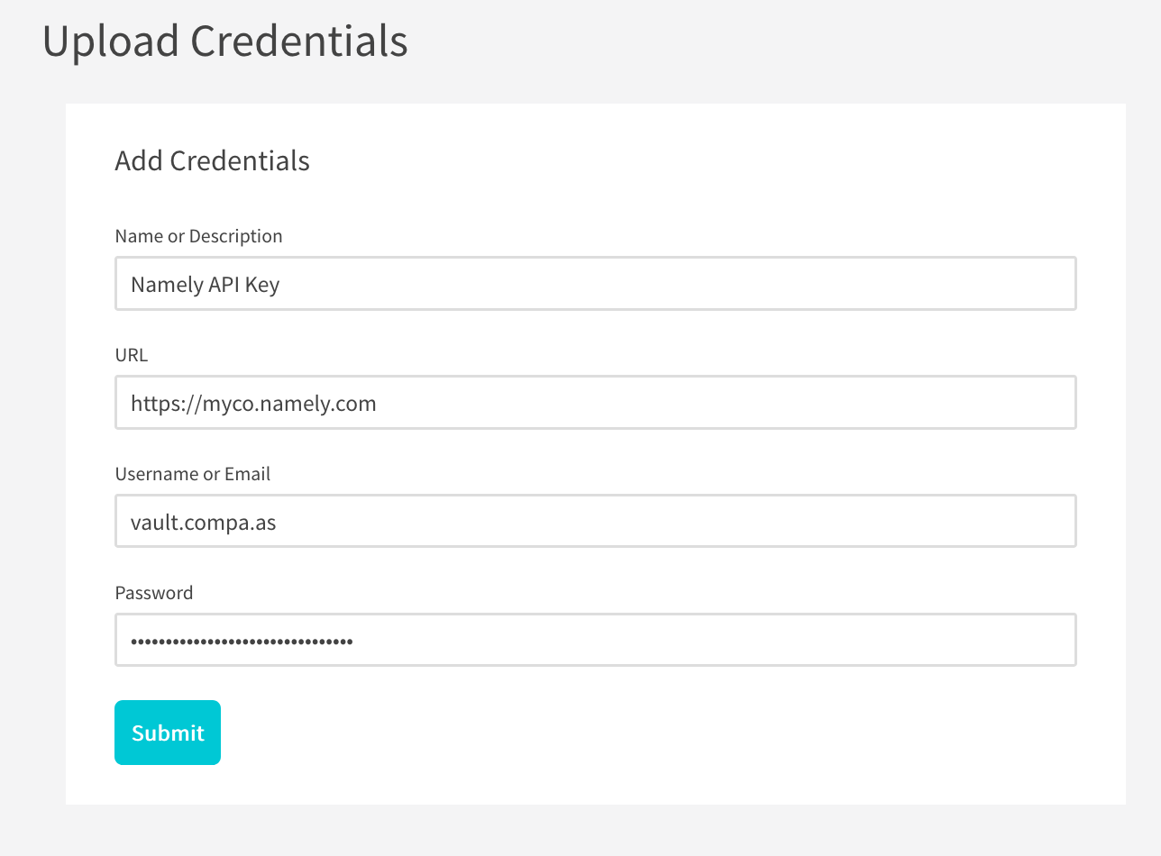Credential Uploader -filled in